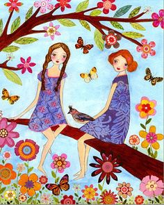 ▫Duets▫groups of two in art & photos - Summertime Sisters by Sascalia on Etsy