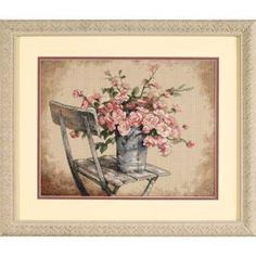 Roses on White Chair by Dimensions - Cross Stitch Kits & Patterns