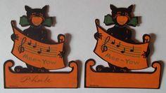 DEAD MINT 1930'S Vintage DENNISON Singing DIECUT CAT Halloween PLACE CARD Bonus