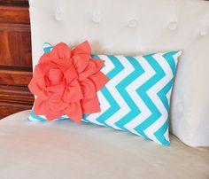 Pillows, Decorative Throw Pillows, Lumbar Pillow, Cushions, Coral and Turquoise Pillow Baby Nursery Decor