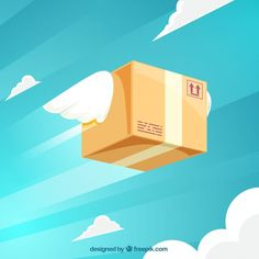 Flat carton box flying with wings Free Vector Breath Of The Wind, Icon Design, Carton Box, Dog Hoodie, Flat Design, Web Design, Yoga Leggings, Vector Free, Wings