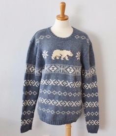 Ugly Christmas Sweater Jumper Women S men XS blue Reindeer Old ...