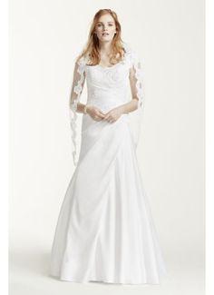 $399 at Davids Bridal online Satin Beaded Lace Off the Shoulder Wedding Dress WG3713