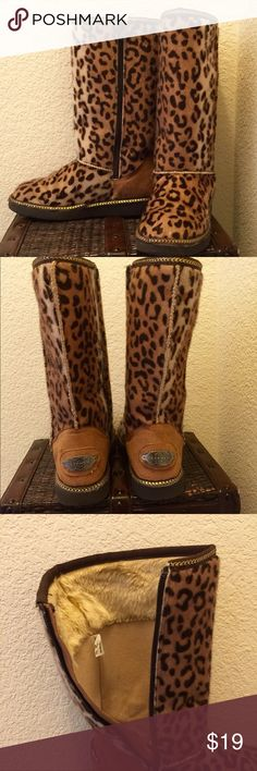 Girls Leopard  Skechers  Boots Girls Fun Glam Slam-Soft Paw leopard boots by Skechers. All man made materials. There is a small pen mark on the back of one of the heels as pictured. Other than that perfect, barely worn condition! Skechers Shoes Boots