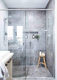 Modern bathroom with grey stone tiles. Grey Bathroom Tiles, Bathroom Design Small, Bathroom Renos, Bathroom Interior Design, Master Bathroom, Bathroom Ideas, Bathroom Showers, Basement Bathroom, Bathroom Designs