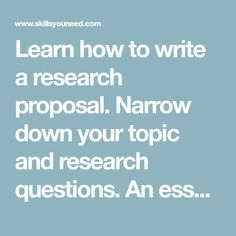 Learn how to write a research proposal. Narrow down your topic and research questions. An essential part of a dissertation, thesis or grant application. Thesis Writing, Academic Writing, Scientific Writing, Grant Application, Study Board, Grant Writing, Research Question, Writing A Research Proposal, Essay Writer