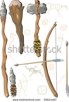 A set of weapon prehistoric man - stock vector Stone Age Ks2, Stone Age Tools, Ancient History, Art History, Prehistoric Period, Early Humans, Indian Artifacts, Survival Weapons, Iron Age