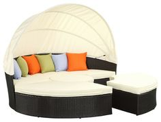 Modway Quest Canopy Daybed in Espresso White contemporary-day-beds-and-chaises