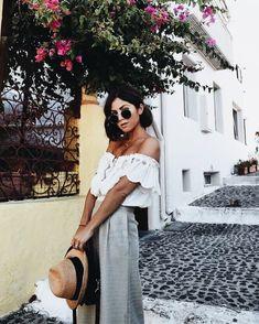 Summer off the shoulder shirt and maxi skirt #fashioninspiration #summer