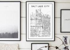 Salt Lake City Map Salt Lake City Utah Map by GalaDigitalPrints