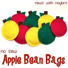 News with Naylors: No Sew Apple Bean Bags Preschool Apple Theme, Preschool Crafts, Preschool Ideas, Dr Seuss Crafts, Letter Games, Letter Of The Week, Diy Letters, Toddler Learning, Sewing A Button