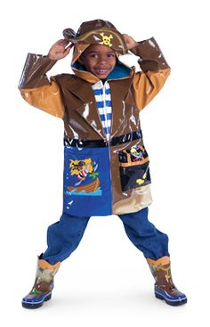 Kidorable Pirate Rain Coat with matching boots are perfect for your little Pirate. Find great kids rain coats and kids rain gear here.