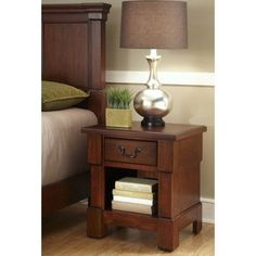 Home Styles The Aspen Collection Night Stand, Rustic Cherry/Black, Brown
