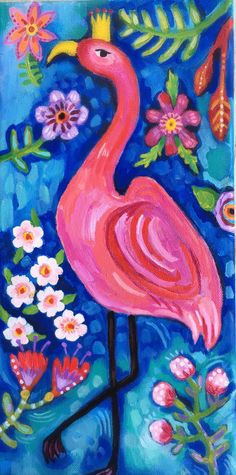 A personal favorite from my Etsy shop https://www.etsy.com/listing/575621022/flamingo-acrylic-painting-on-canvas