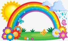 Rainbow sun painted flowers, Hand Painted, Rain, Rainbow PNG and Vector Rainbow Cloud, Rainbow Theme, Rainbow Birthday, Rainbow Png, Rainbow Clipart, Art Drawings For Kids, Drawing For Kids, Rainbow Drawing, Boarder Designs