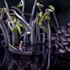 Night fishing in the swamp of black beans by William Kass