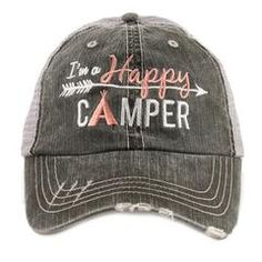 Hat OR Shirt {I\'m a happy camper} 2 choices. Gray or white. Hat also available in 5 colors.