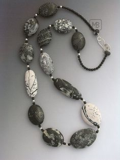 """Bettina Mertz, polymer neckpiece, """" love simple clothes and flashy jewelry. The results of this love you can see here. I started with polymer clay, then seed beads (this photo posted April 2009).  See newer work here: https://www.flickr.com/photos/mb-jewelry/"""