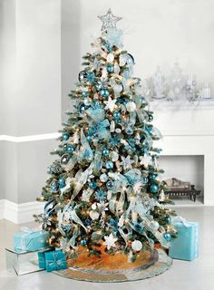 love this color blue christmas tree decorations how to decorate christmas tree frozen christmas - Blue Decorated Christmas Tree