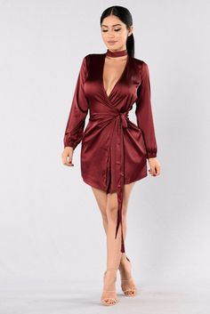 Get To Know Ya Dress - Burgundy