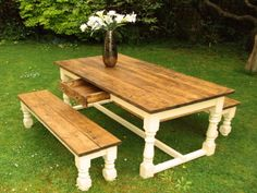 shabby chic Pine Painted farmhouse refectory Kitchen dining table and benches | eBay