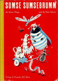 """Illustrations by Heinrich Strub for Sumse Sumsebrumm (Switzerland, 1946), from the collection of Arthur van Kruining    This is an adaptation of a children's rhyme by Korney Chukovsky, I think """"Boldly Buzzing Fly"""" (Buzzy Wuzzy?)."""