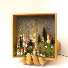 French Fairy Village on the Wall - Numéro Quatre -  Eleven French Fairy Houses, Trees and Mushrooms by Bewilder and Pine. $89.00, via Etsy.