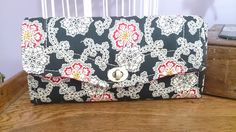 Necessary Clutch Wallet - handmade in black , red, mustard floral fabric by TheHandMaidensCloset on Etsy