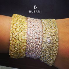 butani - rose cut diamond bracelet in an assortment of colors from white, yellow to fancy yellow diamonds