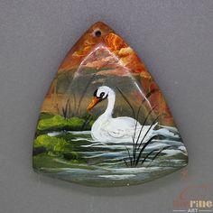 Elegant Pendant Hand Painted swan Natural Gemstone   ZL805211 #ZL #Pendant