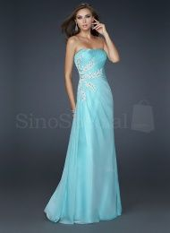 Blue A-line Scoop Neckline Floor Length Chiffon Evening Dress