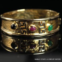 see more #vintagejewelry and #estatejewelry on our website! (link in bio). #VINTAGE NATURAL #SAPPHIRE #EMERALD #RUBY 14K YELLOW GOLD HINGED BANGLE BRACELET NR #Bangle