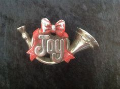 Hallmark Christmas Horn Joy Pin Brooch Holiday by FindingYesterday
