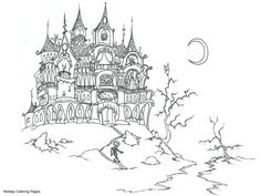 Scary Coloring Pages for Teens | Scary House Coloring Pages, Printable Scary House Coloring Sheets ...