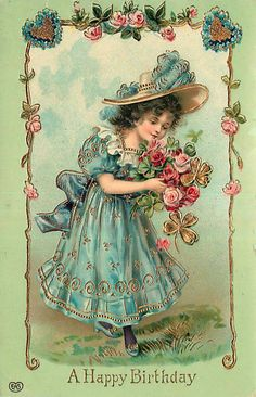 Embossed Birthday Postcard Young Girl w/ Flowers & Four-Leaf Clovers circa 1908 Decoupage Vintage, Vintage Crafts, Vintage Ephemera, Vintage Paper, Vintage Postcards, Vintage Art, Vintage Birds, Vintage Valentine Cards, Vintage Greeting Cards