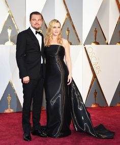 Leonardo DiCaprio and Kate Winslet at the 2016 Oscars