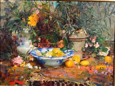 Richard Schmid - Still Life with Oranges and Flowers (36 x 48)