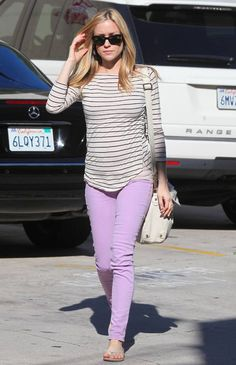 CELEB TREND - a pregnant Kristen Cavallari looks chic in Lilac Jeans.     SHOP THE LOOK HERE: http://www.fashionpony.co.uk/womens/just-in-clothes/pale-pink-demin-jeans-1422.html