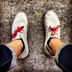 Clarks - Desert Boots with red laces