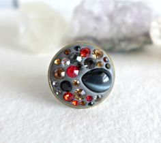 OOAK Epoxy pave ring in Grey with rhinestones and by MadeByKirk, $29.00