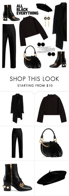 """""""B."""" by fashion-bite ❤ liked on Polyvore featuring Ann Demeulemeester, Mother of Pearl, Fendi, Sacai, Gucci, Henri Bendel, monochrome, allblack, allblackeverything and monochromeoutfit"""