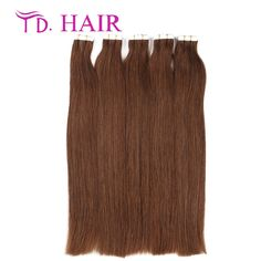 64.19$  Buy now - http://aliz40.worldwells.pw/go.php?t=32463696978 - #4 Hot selling tape in human hair extensions dark brown color 20pcs 40pcs/package skin weft hair extensions human virgin hair 64.19$