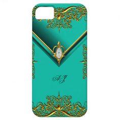 iPhone 5 Monogram Regal Elegant Jade Gold iPhone 5 Covers