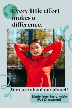 We believe that every little effort makes a difference. Using sustainably made materials like Rubex is how we are contributing to protecting the environment Make A Difference, Gym Essentials, Training Tops, Our Planet, Stand Up, This Is Us, Effort, Zip Ups, Exercise