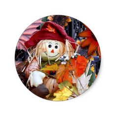 Thanksgiving Rag Doll Amongst Autumn Harvest Scene Classic Round Sticker - thanksgiving stickers holiday family happy thanksgiving