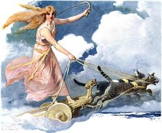 FREYA: (Lady) Daughter of Njord and sister of Frey. The goddess of Love and War, who rides in a chariot drawn by two cats.   She has three magical items: A Falcon coat, when worn Freya is transformed into a Falcon. Catskin Gloves and the Torc, Brisingamen, giving her another alias, Menglad (Necklace-glad).  Freya is also a Valkyrie and has first choice over Odin, of the warriors killed in battle.