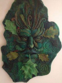 Needle Felted Leaf God of Nature Portrait Wall Hanging. Amazing work by felt artist Richard Hanna.