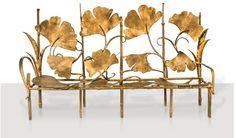 Claude Lalanne, banquette number 1 from an edition of gilt bronze, 162 x 284 x 70 cm, 2003 Art Nouveau Furniture, Metal Furniture, Unique Furniture, Furniture Design, Muebles Art Deco, Design Art, Interior Design, Decorative Accessories, Antiques