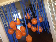"nerf party - orange balloons for ""bullet"" heads or orange paper lanterns"
