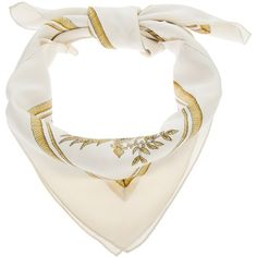 Hermes Vintage crest print scarf ($520) ❤ liked on Polyvore featuring accessories, scarves, hermès, silk shawl, vintage scarves, silk scarves and patterned scarves